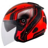 Kask motocyklowy KYT HELLCAT SUPERFLUO czerwony