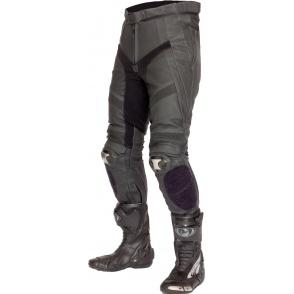 Spodnie motocyklowe skórzane LOOKWELL MACH II czarno-grafitowe