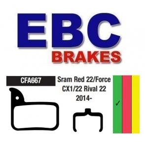 Klocki rowerowe EBC (organiczne) SRAM Red 22 / Force CC1 / Rival 22 CFA667