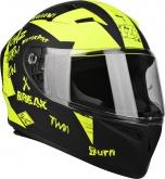 Kask motocyklowy LZR FH4 Jr Bad Boy czarny/żółty/fluo/matowy 2XS
