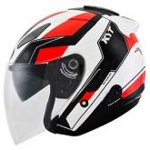 Kask motocyklowy KYT HELLCAT GXS biały/czerwony fluo